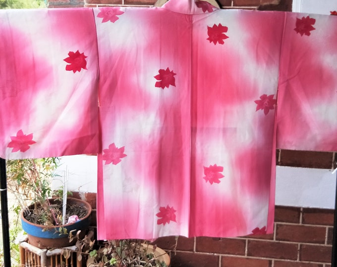 Vintage Japanese pink and white smooth silk haori  kimono jacket with woven and dyed roses and sensu fan lining.