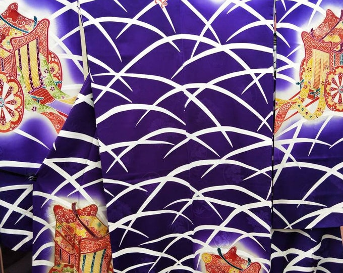Vintage Japanese dark royal purple Furisode kimono w/ carriage and grass pattern. Woven pattern, striking and sumptuous. Vintage excellent.
