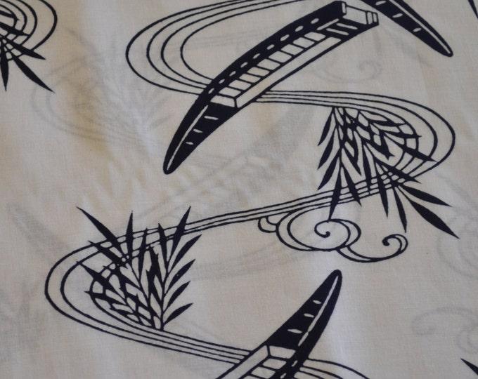 Vintage Japanese cotton yukata kimono fabric 92cm x 34 cm 1yd boats bamboo indigo blue