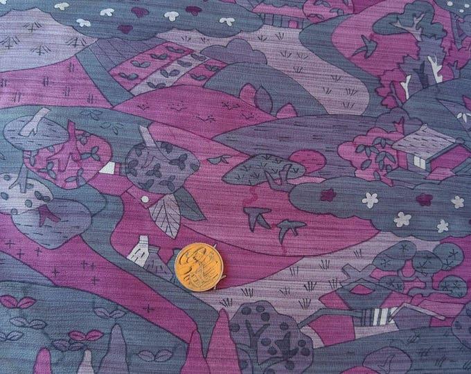 Vintage Japanese silk kimono fabric 92 cm x 36 cm scenery grey and pink
