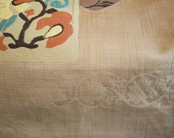 Vintage Japanese Fukuro silk woven obi rich light brown.  Woven flowers,  soft obi not stiff. Absolutely gorgeous