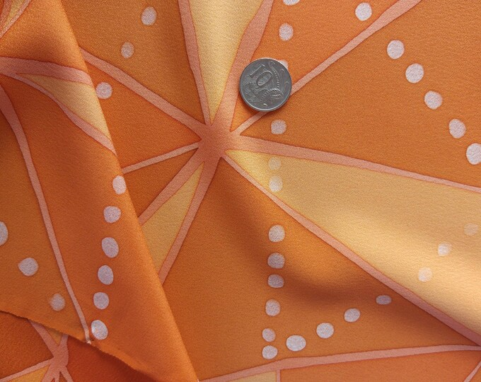 Vintage Japanese silk kimono fabric 92 cm x 36 cm orangel geometric pattern