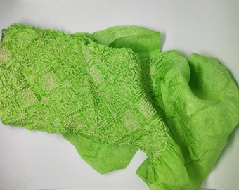 Vintage Japanese rinzu silk kimono obi-age lime green coloured silk with shibori 140 cm long. Woven sayagata design. Shibori geometrics.