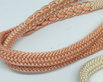 Vintage Japanese hand braided silk kumihimo obijime cord for obi  soft two tone ombre pink and cream, flat type. Subtle and elegant