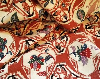 "Vintage Japanese silk kimono fabric 36"" x 14"" (92 cm x 36 cm) Kinsha type soft silk stylised stencil pattern"