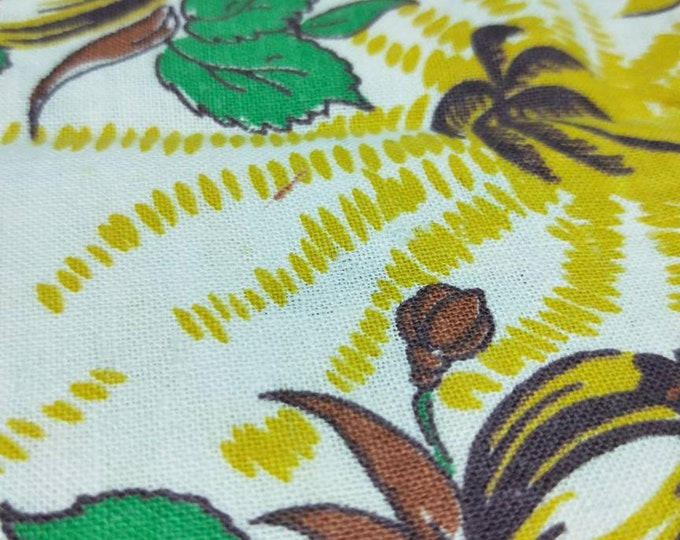 """Vintage American Feed sack fabric 1940's original not reproduction fat quarter 18"""" x 22' palms, sun flowers in emerald, mustard, brown"""