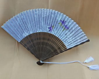 Vintage Japanese washi and wood fan, Maple leaves and flowers.