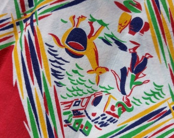 """Vintage American Feed sack fabric fat quarter 18"""" x 22' cotton novelty Mexican scenery donkey etc feedsack"""