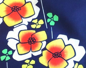 Vintage Japanese cotton yukata fabric indigo blue geometric flowers 92 cm x 36 cm