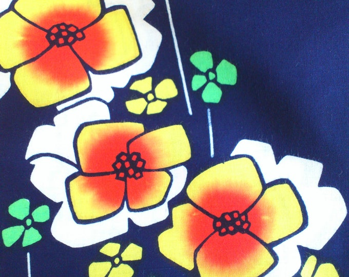 Vintage Japanese cotton yukata fabric indigo blue geometric flowers 92 cm x 36 cm