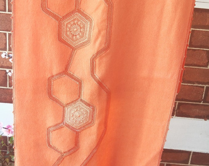 Vintage Japanese crochet and felted wool shawl for kimono tangerine orange with hexagon lace flowers