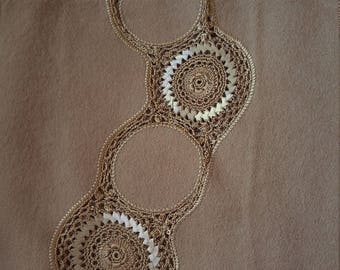 Vintage Japanese crochet and wool shawl for kimono soft brown tan with ribbon work.