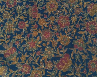 Vintage Japanese retro wool kimono fabric 92 cm x 36 cm floral karakusa