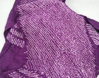 Vintage Japanese rinzu silk kimono obi-age rich royal purple coloured silk with shibori 140 cm long. Woven sayagata design.