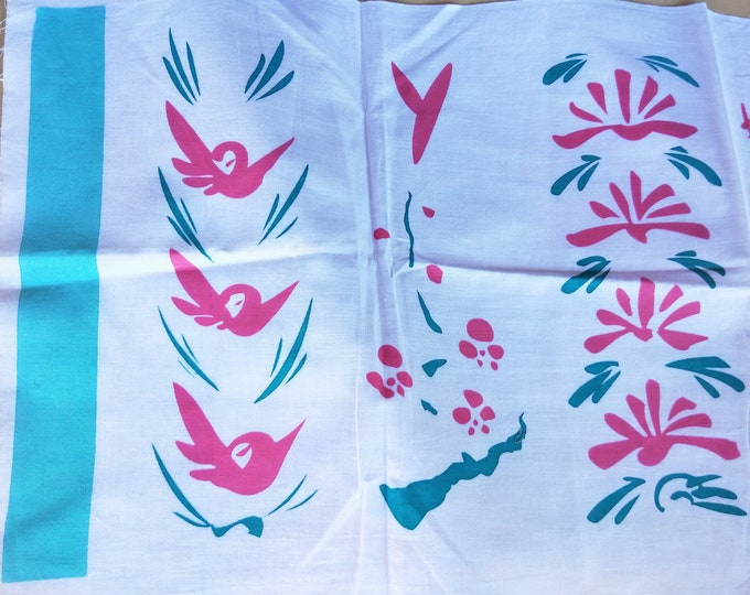 Vintage Japanese cotton tenugui towel dyed pink and turquoise floral and geometric