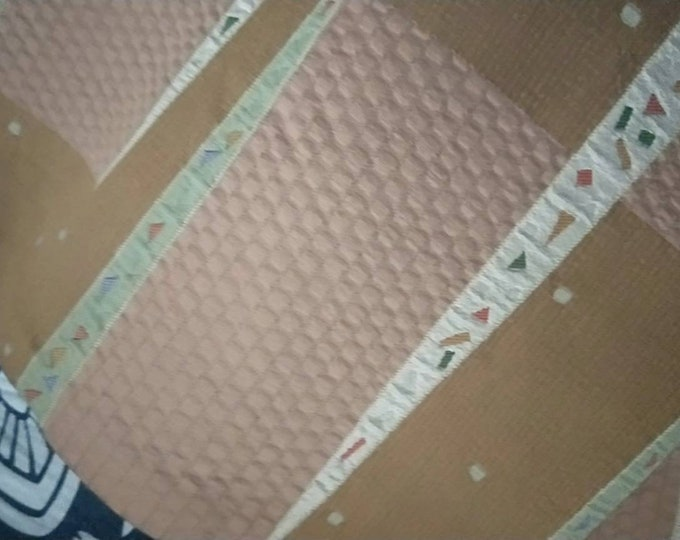 Subtle and understated vintage Japanese Fukuro silk woven obi rich light sand brown.  Woven retro pop geometric pattern.
