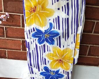 Lilies flowers new with tages Japanese cotton yukata kimono Yukata stylized. Hemp and cotton blend