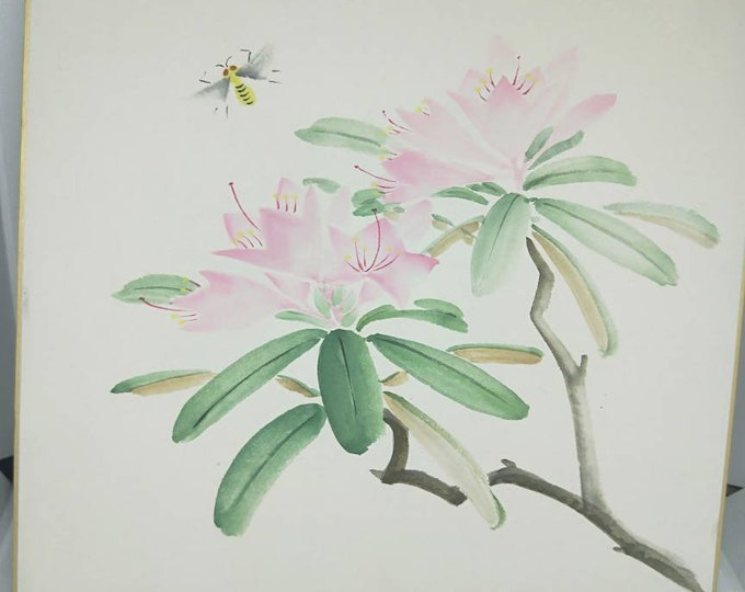 Vintage delicate hand painted watercolour Japanese shikishi painting of bee with flowers. Signed . Decorative art great for display.