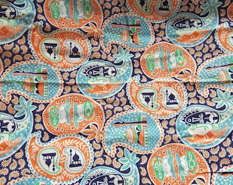"Vintage American Feed sack fabric fat quarter 18"" x 22' oriental, Turkish paisley design"