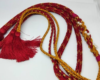 Vintage Japanese hand braided silk kumihimo obijime cord for obi  soft rich red with gold thread, artificial pearls, round type.