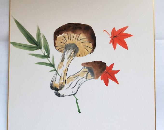 Vintage Hand painted Japanese shikishi  painting Japanese unsigned maple and mushrooms