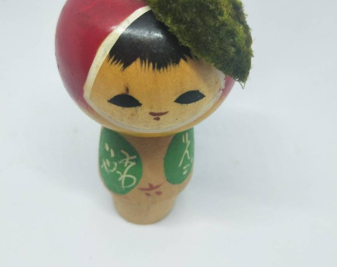 Vintage Japanese baby apple kokeshi doll, with calligraphy. Not Mint. Absolutely Adorable. 10cm tall.