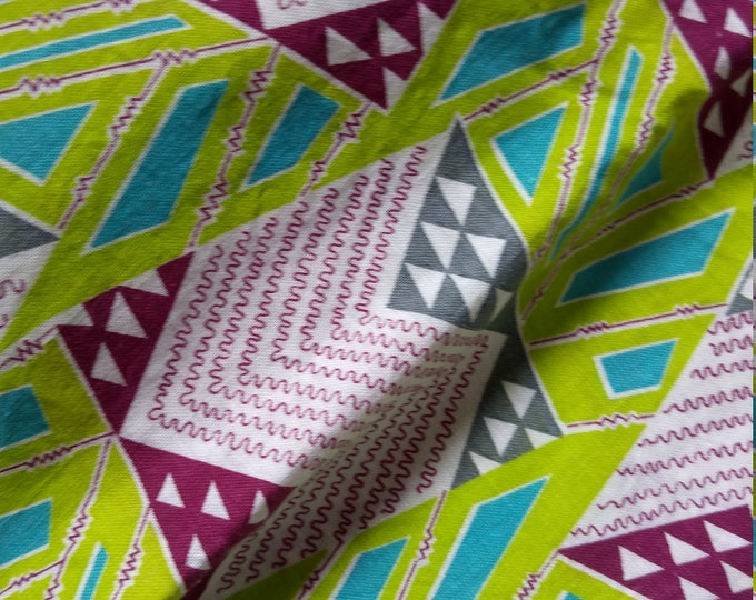 "Vintage American Feed sack fabric fat quarter 18"" x 22' cotton geometric abstract retro pop feedsack"