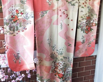 Vintage Japanese soft pink silk Furisode kimono w/ swinging sleeves, carriages flowers. A very traditional pattern.