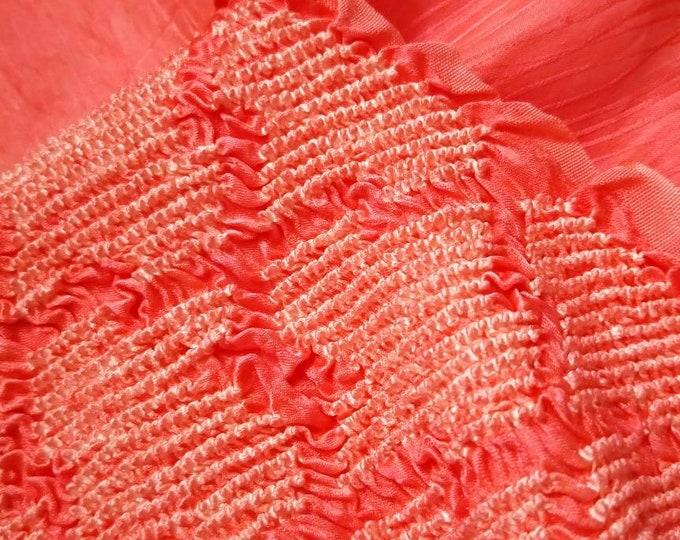 Vintage Japanese rinzu silk kimono obi-age bright salmon orange silk with shibori interlocking geometrics 130 cm long