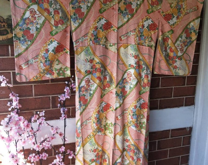 Vintage Japanese Kimono red silk light crepe with a traditional pattern of obijime and fabric bolts filled with flowers.
