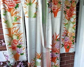 Vintage Japanese cream rich rinzu silk Furisode kimono w/ swinging sleeves, auspicious chrysanthemum flowers. Gold embroidered accents.