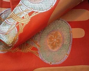 Vintage Japanese fukuro silk  woven drum, gold and silver thread with deep vibrant orange ground. Orange reverse. Stunning and dramatic