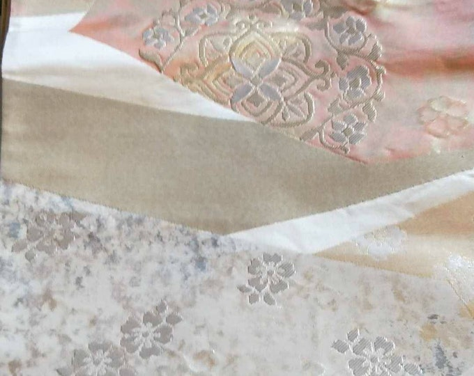 Beautiful vintage Japanese silk fukuro  obi  woven flowers in muted gold, pink and platinum and cream backing and metallic threads
