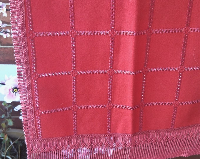 Vintage Japanese crochet and felted wool shawl with ribbon work for kimono dusky red-pink