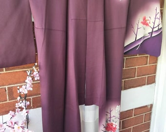 Vintage Japanese silk hand stitched kimono purple with hand painted flowers and tree silhouettes.