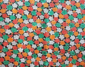 "Vintage Japanese silk rinzu fine weaves kimono fabric 75 cm x 36 cm cream flowers  29.5"" x 14"""