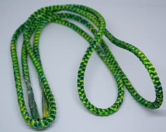 Vintage Japanese hand braided silk kumihimo obijime cord for obi  jewel green ombre shades round type.