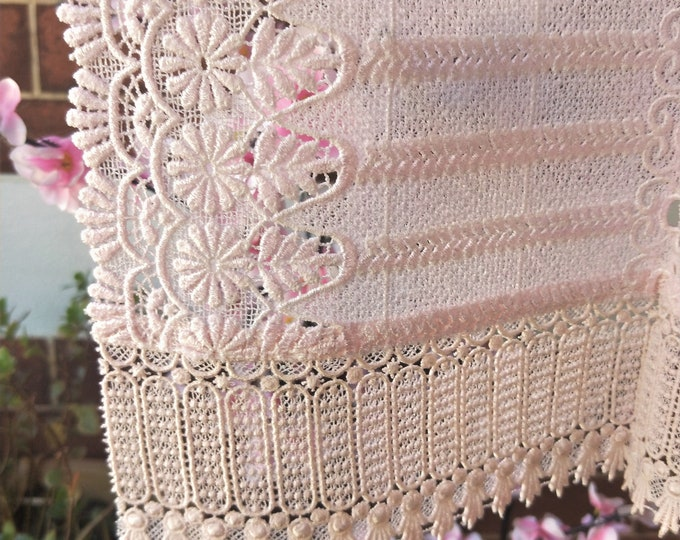 Vintage Japanese lace shawl for kimono  soft baby pink warm tone