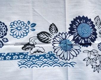 Vintage Japanese cotton tenugui towel blue chrysanthemum, bamboo and seigaiha