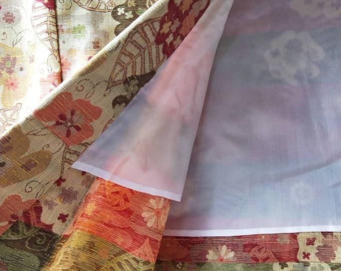 Vintage Japanese wool kimono hitoe unlined jacquard weave floral