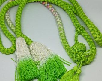 Vintage Japanese hand braided silk kumihimo obijime cord for obi   lime green, w/ tamari ball accent , pastel rainbow highlight round type.
