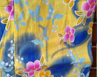 Japanese cotton yukata for kids / young girl with camellia flowers and blue butterflies.