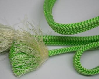Vintage Japanese silk kumihimo obi-jime cord for obi green and white. Flat type. Handmade, not mint.