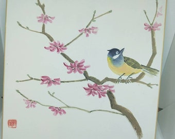 Vintage delicate hand painted watercolour Japanese shikishi painting of a bird in flowering tree. Signed . Decorative art great for display.