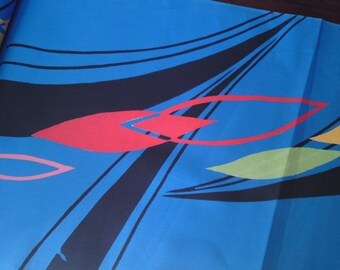 "Japanese kimono blue cotton yukata fabric retro pop 1980's style abstract 92 cm x 36 cm (36"" x 14"")"