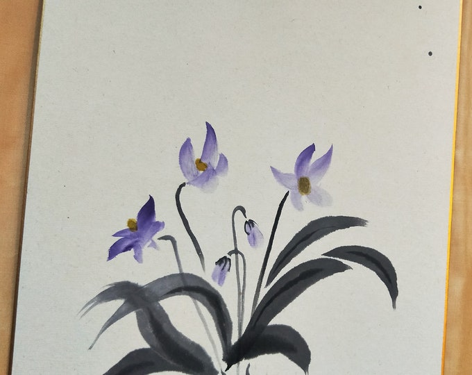 Vintage Hand painted Japanese shikishi  paintings Japanese  flowers, violets