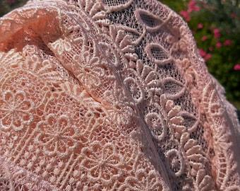 Vintage Japanese lace shawl for kimono pastel baby pink lace