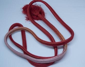 Vintage Japanese silk kumihimo obi-jime cord for obi rust brown and purple ombre flat type. Handmade, stunning.