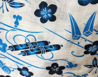 Blue and white traditional things new with tages Japanese cotton yukata kimono stylized. Hemp and cotton blend