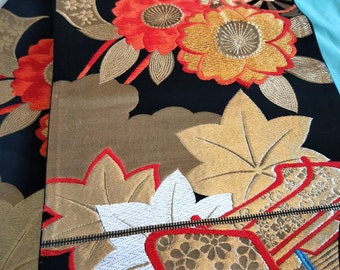 Vintage Japanese fukuro silk woven of flowers, cherry blossoms reverse, gold  metallic threads. Orange, silver and gold colours. Not Mint